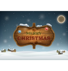 Christmas Evening With Wooden Board vector image vector image