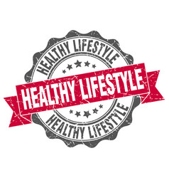 healthy lifestyle stamp sign seal vector image vector image