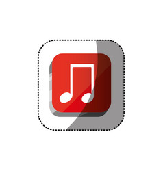 Sticker color square 3d button with musical note vector