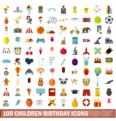 100 children birthday icons set flat style vector image