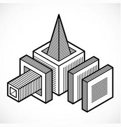 3d design abstract cube shape vector