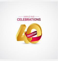40 years anniversary amazing celebration gold vector