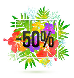 50 percents discount banner template on vector