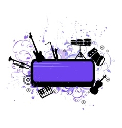 Abstract musical background with music instruments vector