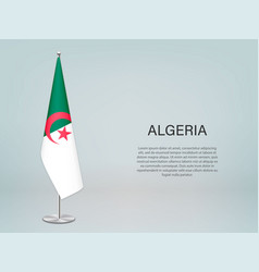 Algeria hanging flag on stand template vector
