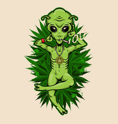 Alien with jamb chilling on cannabis field vector