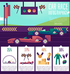 Banner with infographics car races a vector