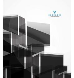 Black glass squares geometric background vector image