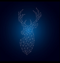 bright polygonal deer silhouette vector image