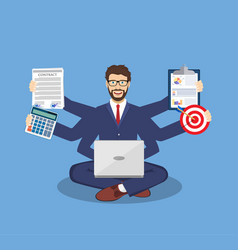 Businessman with multitasking lots of arms vector