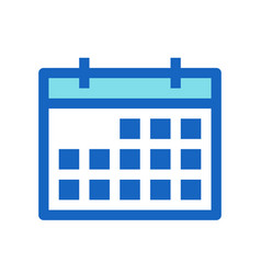 calendar business filled line icon blue color vector image