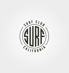 california surf club emblem logo vintage design vector image