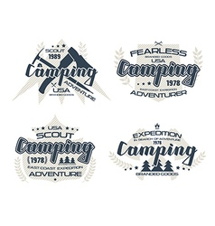 Camping emblems for t shirt vector