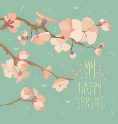 card with spring flowers on tree branch vector image