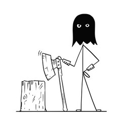 Cartoon of medieval executioner in hood with vector
