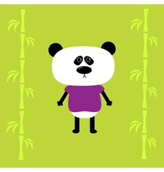 Cartoon panda boy and bamboo Card vector image