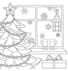 christmas theme poster with xmas tree star vector image