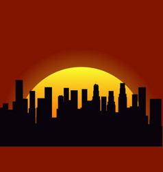 City landscape on a sunset background silhouette vector