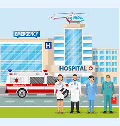 city landscape scene with ambulance truck vector image