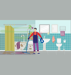 Cleaning service worker in dirty messy bathroom vector