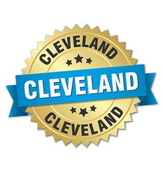 Cleveland round golden badge with blue ribbon vector