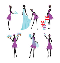 colorful bridesmaids set vector image