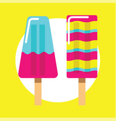 Colorful ice cream icon on yellow vector