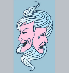 Comedy and tragedy actor masks for theatre culture vector