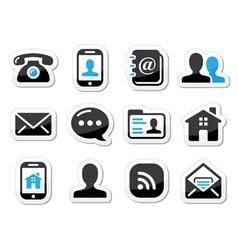 Contact icons set as labels - mobile user email vector