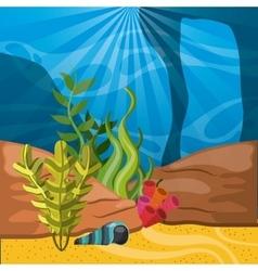 Coral shell and algae icon Sea life design vector
