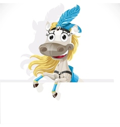 Cute circus horse hold big banner vector