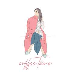 Cute drawing of girl with coffee mug vector