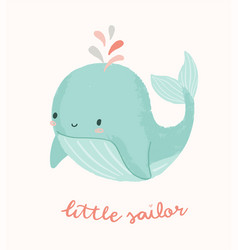 Cute whale with little sailor hand vector