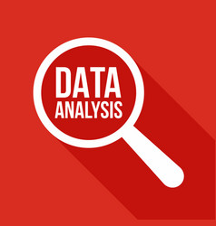 Data analysis word magnifying glass vector