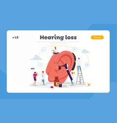Deafness landing page template deaf people vector