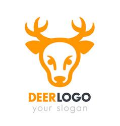 deer head logo element on white vector image