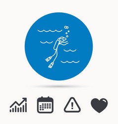diving icon swimming underwater with tube sign vector image