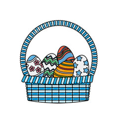 drawing happy easter basket egg decoration image vector image