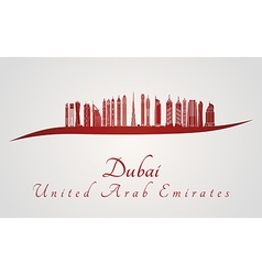 Dubai V2 skyline in red vector