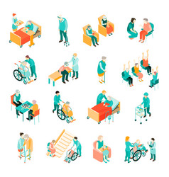 Elderly people nursing home isometric set vector