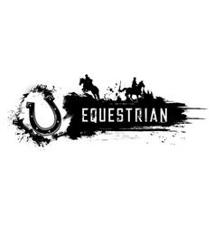 Equestrian sport horse riding club poster vector