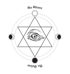 eye of providence in the center of the hexagram vector image