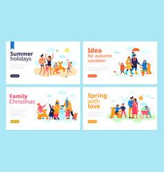 family seasons flat banners vector image