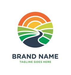 Farm hill circle logo design vector