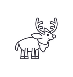 festive deer line icon concept festive deer vector image