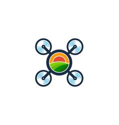 Field drone logo icon design vector