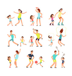 Fitness family parents and kids training together vector