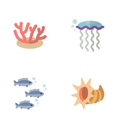 Flat icon sea set of tuna seashell algae and vector