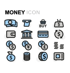 flat money icons set vector image
