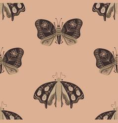 folk art seamless pattern with moths vector image